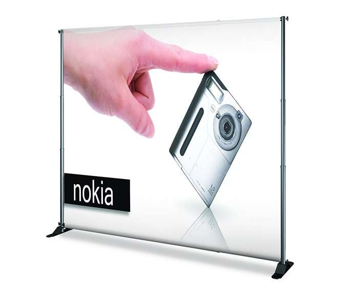 Telescopic exhibit backdrop display